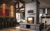 Valcourt FM1500 Mass Fireplace with Oven and Benches on Four Sides