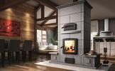 Valcourt FM1500 Mass Fireplace with Oven and Benches on Both Sides